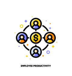 employee productivity icon corporate management vector image