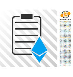 ethereum contract flat icon with bonus vector image