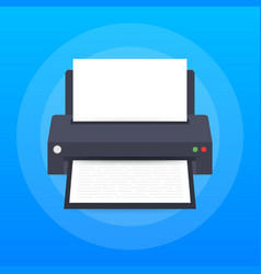 flat printer icon printer with paper a4 sheet and vector image