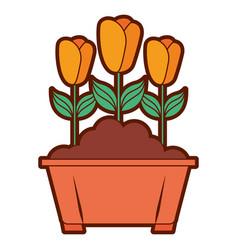 Flowers in pot gardening spring decoration vector