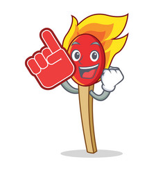Foam finger match stick mascot cartoon vector