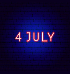 fourth july neon text vector image