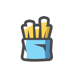 French fries pack icon cartoon vector