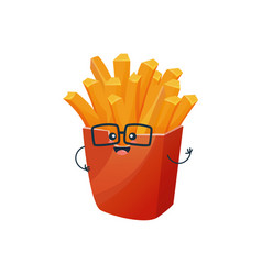 funny characters delicious dishes fast food vector image
