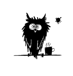 Funny owl black silhouette Sketch for your design vector image