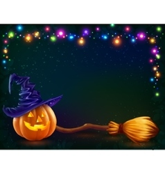 Halloween pumpkin and witchs broom on dark vector image