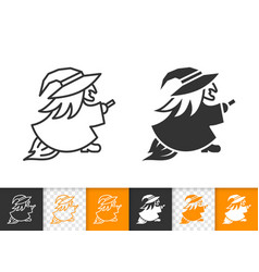 Halloween witch simple black line icon vector