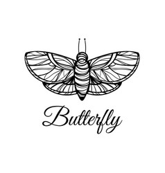 Hand drawn butterfly doodle style logo vector