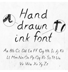 Hand-drawn dirty ink grunge font with alphabet on vector