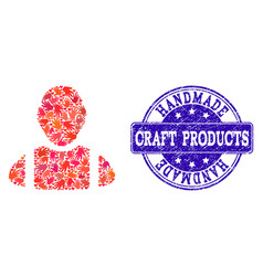 handmade collage of worker and grunge stamp vector image