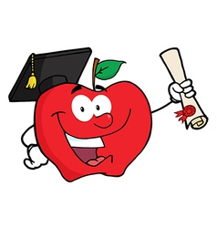Happy Apple Holding A Diploma vector
