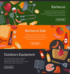 horizontal banner templates for barbecue or vector image