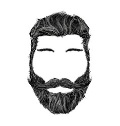 human head with hairstyle mustache and beard vector image