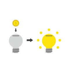 icon concept of light bulb moneybox hole with vector image