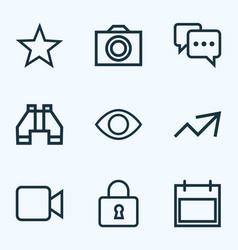 Interface outline icons set collection of find vector