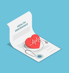 Isometric heart and stethoscope on health vector