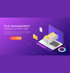 isometric web banner laptop transfer file vector image