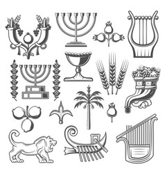 Israel culture and judaism religion icons vector
