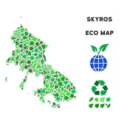 Leaf green collage skyros greek island map vector
