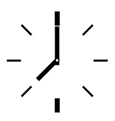 Line round clock on white background flat style vector