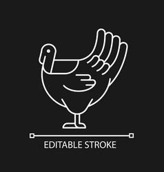Male turkey linear icon for dark theme vector