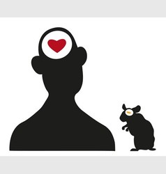 man and hamster silhouettes vector image