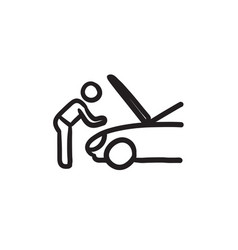 Man fixing car sketch icon vector