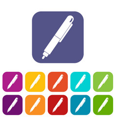 Marker pen icons set flat vector