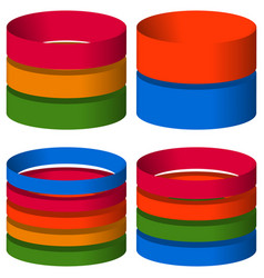 Multicolor segmented 3d cylinders cylinder icons vector