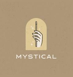Mystical hand magic wand vintage logo icon vector
