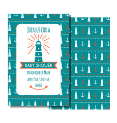 nautical bashower card sea theme baparty vector image