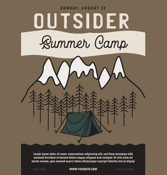 Outside summer camp flyer a4 format camping vector