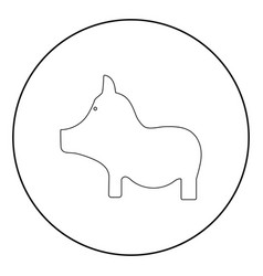 pig the black color icon in circle or round vector image