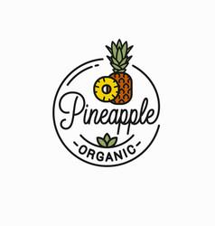 Pineapple fruit logo round linear slice vector
