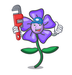 Plumber periwinkle flower mascot cartoon vector