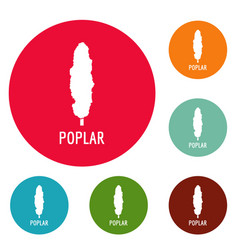 Poplar tree icons circle set vector