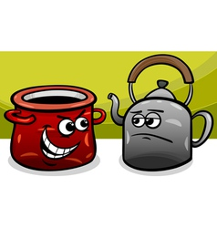 Pot calling the kettle black cartoon vector