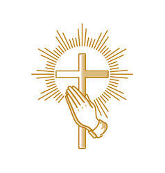 Praying hands and cross of jesus christ vector