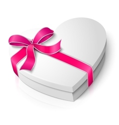 realistic blank heart shape box with pink vector image