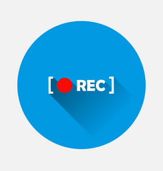 Rec icon on blue background flat image with long vector