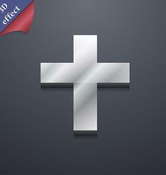 Religious cross Christian icon symbol 3D style vector