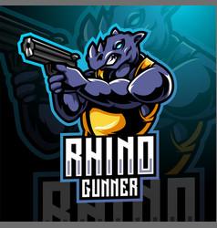 rhino gunner esport mascot logo design vector image