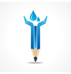 Save water concept with pencil hands vector image