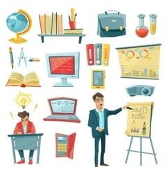 School Education Decorative Icons Set vector