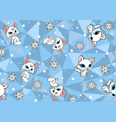 Seamless baby pattern with arctic fox vector