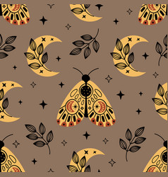 Seamless pattern with bohemian moth and moon vector