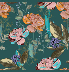 seamless pattern with herbs and brown tulips vector image