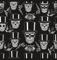 seamless pattern with mexican sugar skulls tattoo vector image