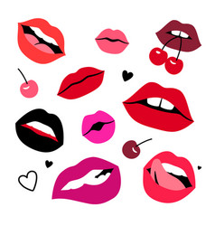 sensual lips set vector image
