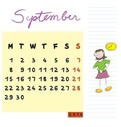 September 2014 kids calendar vector